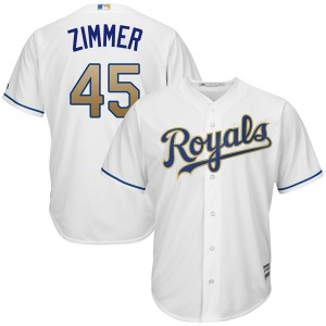 Youth Majestic Kansas City Royals Kyle Zimmer White Cool Base 2017 Home Jersey - Replica