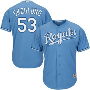 Youth Majestic Kansas City Royals Eric Skoglund Light Blue Cool Base Alternate Jersey - Replica
