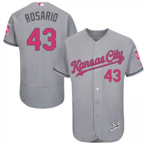 Men's Majestic Kansas City Royals Randy Rosario Gray Flex Base Mother's Day Jersey - Authentic