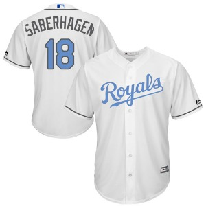 Youth Majestic Kansas City Royals Bret Saberhagen White Cool Base Father's Day Jersey - Authentic