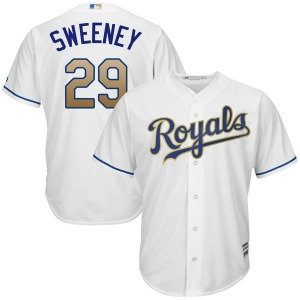 Men's Majestic Kansas City Royals Mike Sweeney White Cool Base 2017 Home Jersey - Replica